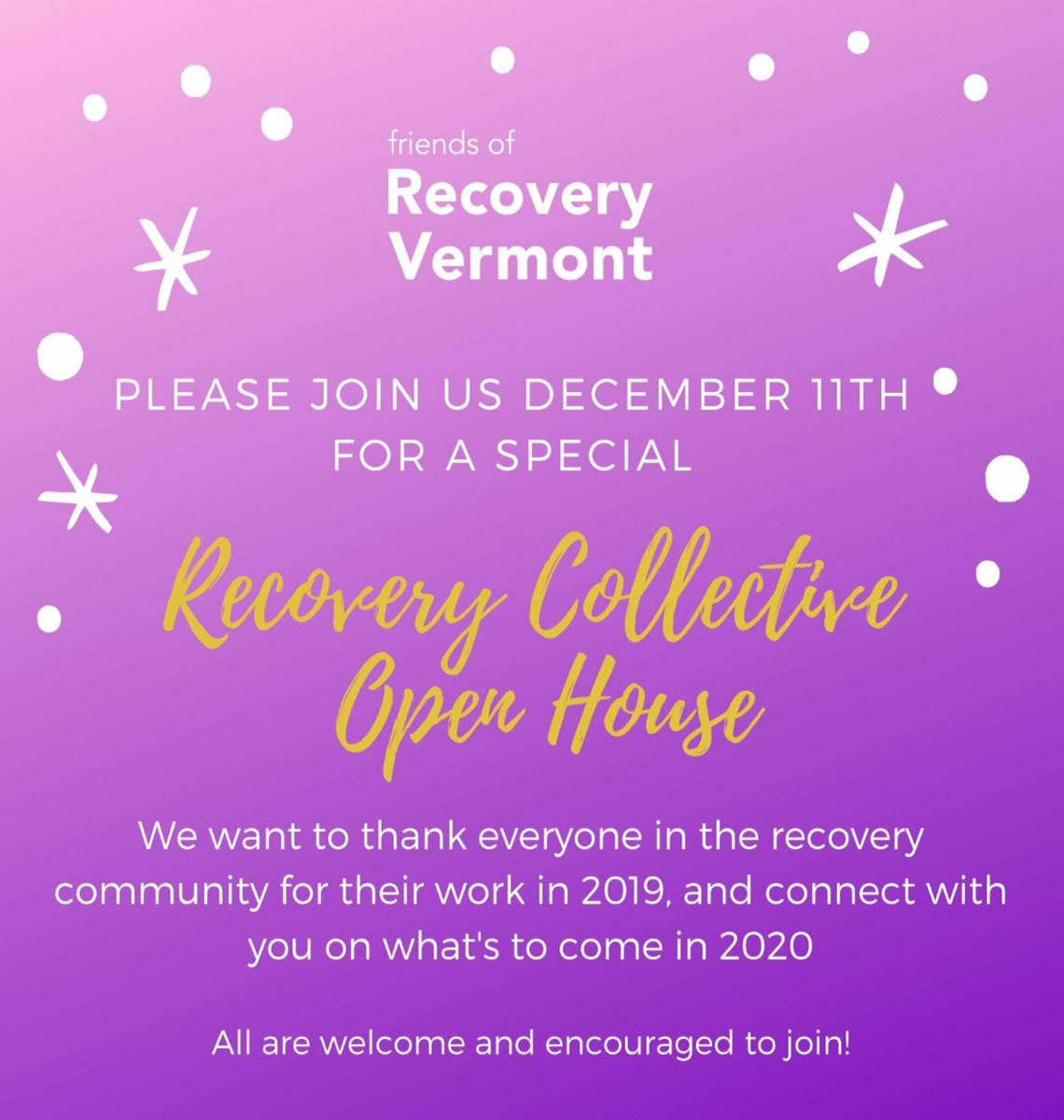 Friends of Recovery Vermont invites you to Recovery Collective Open House!